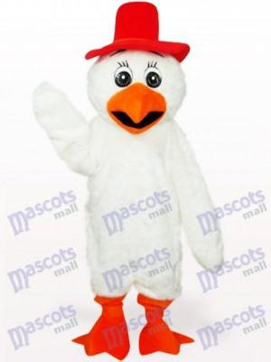 Costume blanc de mascotte de volaille de poulet de cowboy de cheveux longs blancs