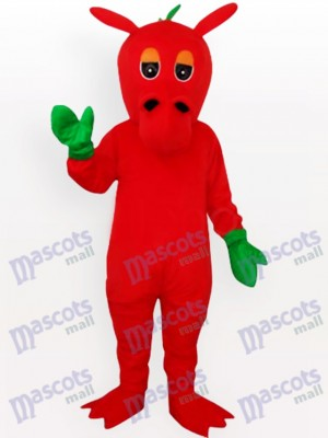 Costume de mascotte adulte Red Dragon with Green Mitts