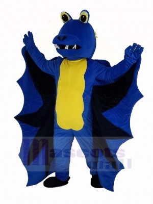 Drôle Bleu Dragon Mascotte Costume