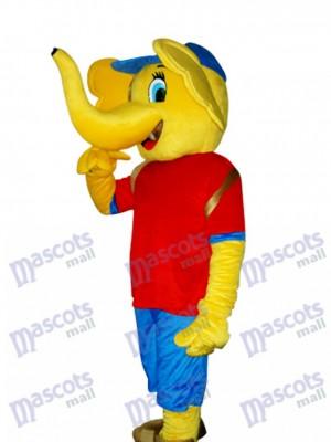 Costume adulte mascotte éléphant jaune