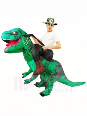 Tyrannosaure vert T-Rex Gonflable Porte moi Ride On Costume