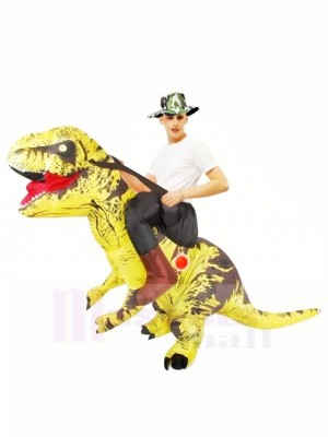 Tyrannosaure jaune T-Rex Gonflable Porte moi Ride On Costume