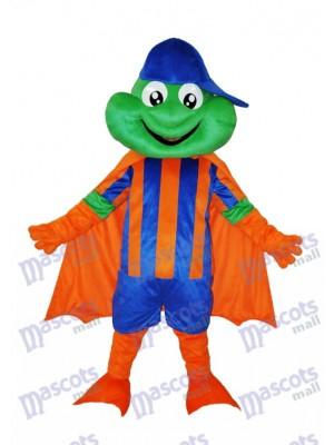 Grenouille heureuse avec chapeau bleu Costume de mascotte adulte Animal