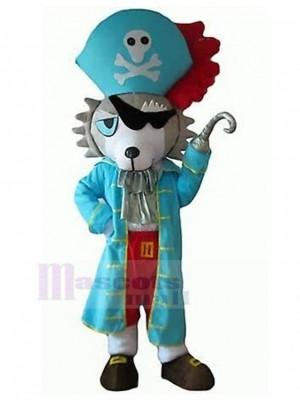 Costume de mascotte de chien loup gris et blanc avec un animal en habit de pirate bleu
