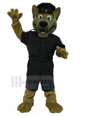 Costume de mascotte de chien de berger allemand avec un animal uniforme de police noir
