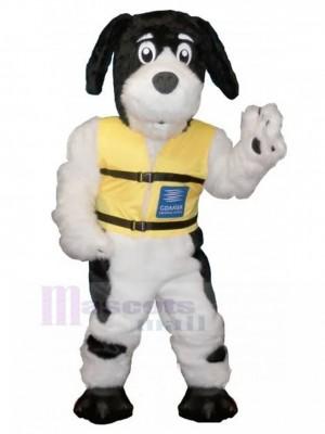 Déguisement mascotte chien poilu noir et blanc avec animal gilet jaune