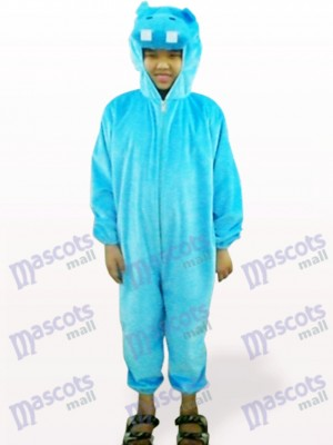 Costume de mascotte bleue Hippo Open Face Kids