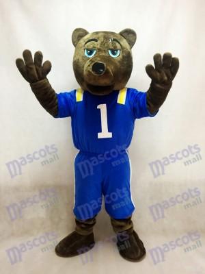 Costume mascotte ours brun foncé UCLA avec gilet