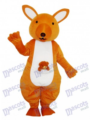 Costume adulte mascotte kangourou jaune Animal