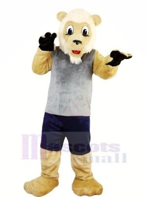 Lion avec Gris Gilet Mascotte Les costumes Adulte
