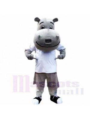 gris Hippopotame avec blanc Chemise Costumes De Mascotte École