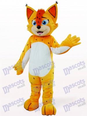 Costume de léopard orange avec mascotte de ventre blanc