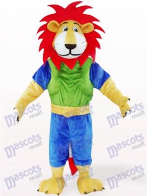 Leo vert et bleu aux cheveux rouges Costume de mascotte animale