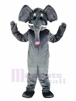 gris l'éléphant Adulte Mascotte Costume Dessin animé