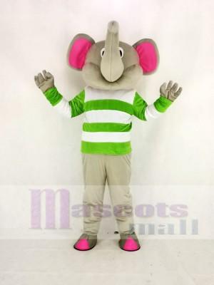 gris l'éléphant avec vert et blanc Tissu Mascotte Costume Dessin animé