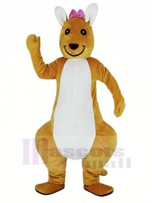 Rose Bowknot Kangourou Mascotte Costume Animal