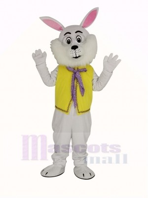 blanc Pâques lapin dans Jaune Gilet Mascotte Costume
