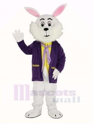 blanc Pâques lapin dans Violet Manteau Mascotte Costume