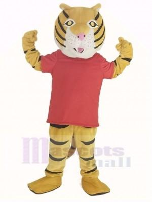 Heureux tigre dans rouge T-shirt Mascotte Costume