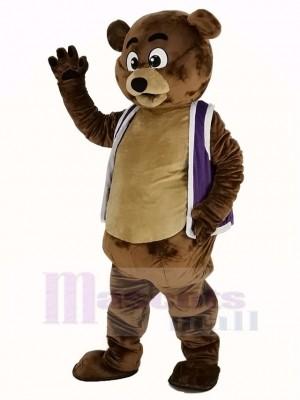 Bob Ours dans Violet Gilet Mascotte Costume Animal