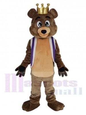 Roi Billy Bob Ours avec Gilet violet Costume de mascotte
