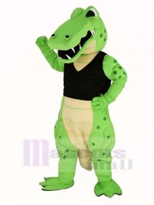 Puissance vert Crocodile dans Noir Gilet Mascotte Costume Animal
