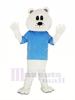 Mignonne blanc Ours avec Bleu T-shirt Mascotte Costume Adulte