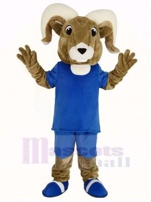 sport RAM avec Bleu T-shirt Mascotte Costume Adulte