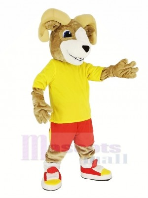 sport RAM avec Jaune T-shirt Mascotte Costume