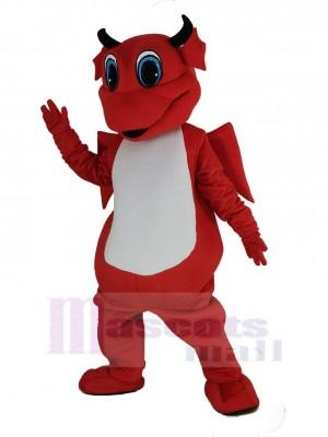 rouge Dragon avec blanc Ventre Mascotte Déguisements Dessin animé