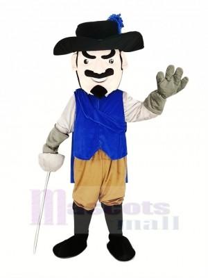 Cavalier Rapide avec Bleu Manteau Mascotte Costume Gens