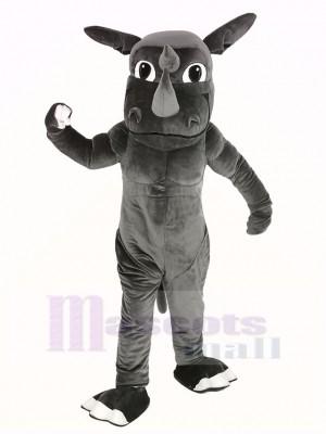 Muscle gris Rhinocéros Mascotte Costume Animal