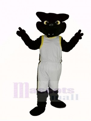 Cool Noir Panthère avec blanc Manteau Mascotte Costume Adulte