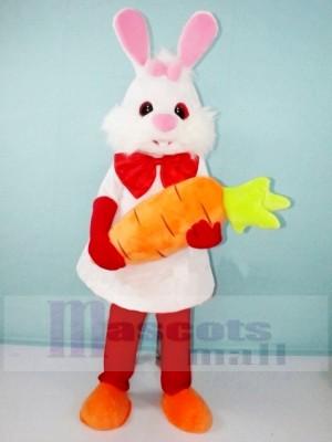 blanc lapin avec Carotte Mascotte Les costumes Dessin animé
