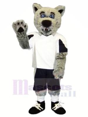 Grau Kojote Wolf mit Weiß T-Shirt Maskottchen Kostüme Karikatur