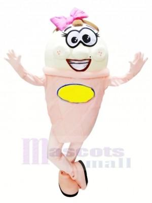 Rose et blanc La glace Crème Mascotte Costume Dessin animé