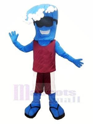 Marrant Bleu Vague Mascotte Costume Dessin animé