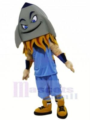 Drôle Gris Fusée Mascotte Costume Dessin animé
