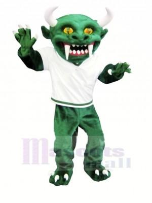 vert Diable avec Longue Les dents Mascotte Costume Dessin animé