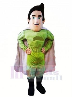 Superman héros dans vert Mascotte Costume Dessin animé