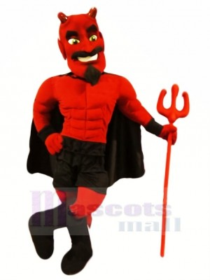 rouge Diable avec vert Yeux Mascotte Costume Dessin animé
