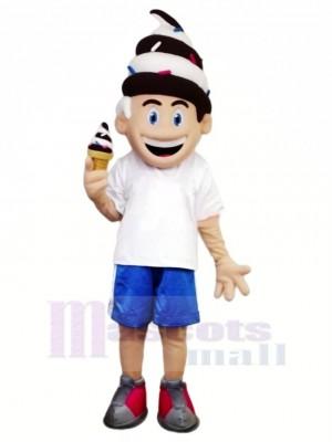 Mignonne La glace Crème Garçon Mascotte Costume Dessin animé