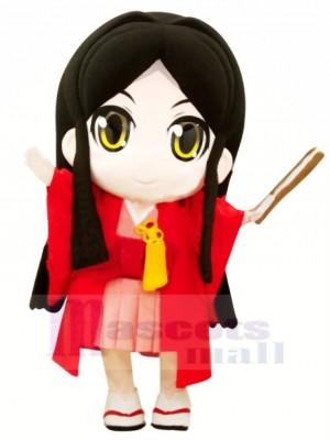 Japonais Fille avec Gros Yeux Mascotte Costume Dessin animé