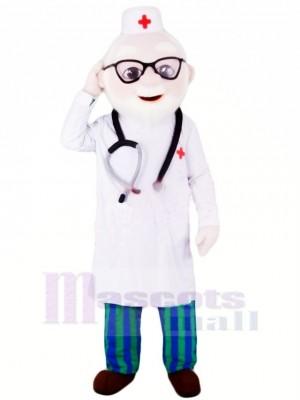 Gentiment Médecin avec Des lunettes Mascotte Costume Personnes