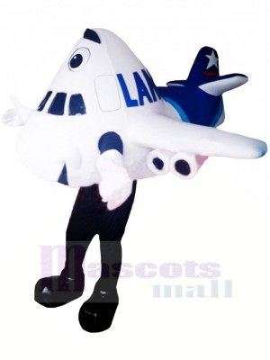 blanc Avion Mascotte Costume Dessin animé