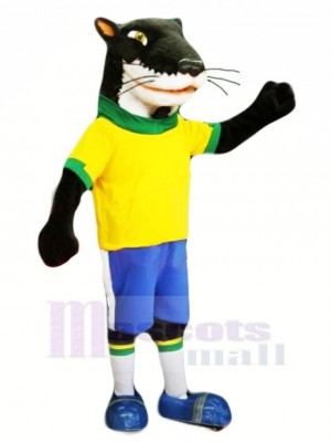 Furet Vison avec Jaune T-shirt Mascotte Costume Dessin animé
