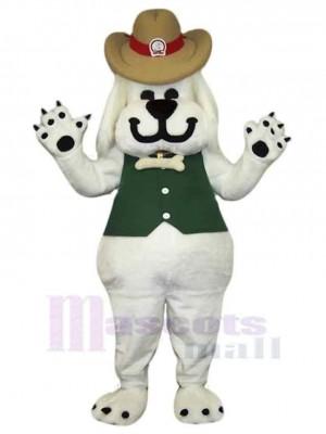 Chien blanc souriant Costume de mascotte Animal en gilet vert