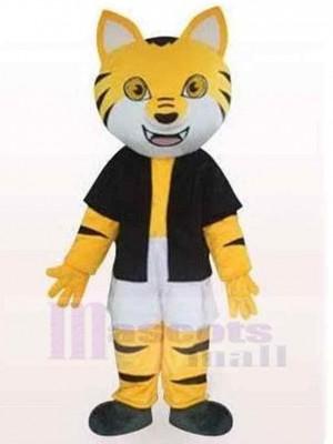 Chat rayé noir et jaune Costume de mascotte Animal en vêtements noirs