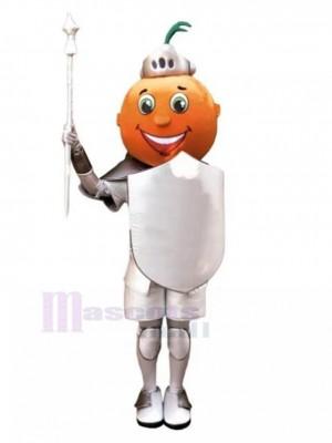 Orange Dessin animé chevalier Costume de mascotte