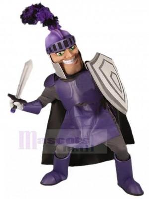 Chevalier souriant en costume de mascotte armure violette Personnes